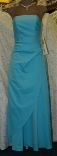 Blue Satin Strapless Tiffany Long Gown Style1051 Formal Bridesmaid/Mob Dress Size 2 (XS)