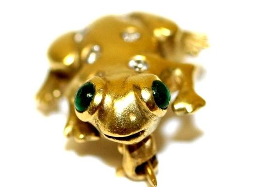 Doll & Frog Yellow Lucky Diamond Brooches and Pins