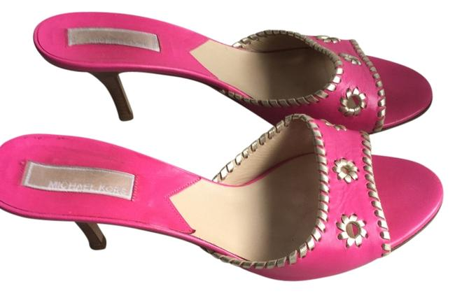 Item - Shocking Pink & Silver-gold Trim - Italian Leather Small Heels * Designer * Mules/Slides Size US 10 Regular (M, B)