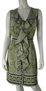 Beth Bowley Silk Button Front Sleeveless Print Dress