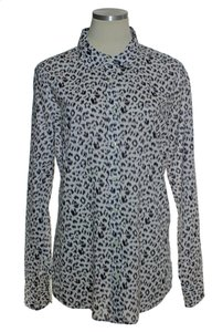 J.Crew Cheetah Print Button Down Shirt Gray