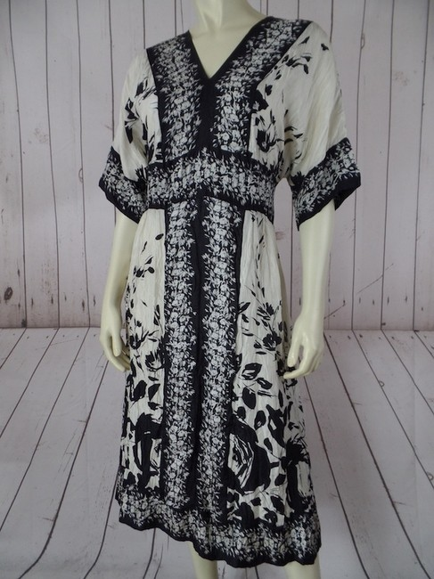 Lynn Ritchie Silver Silk With Tags Crinkle Texture Dolman Sleeve Dress