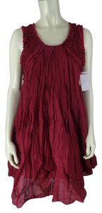 Free People Anthropologie Crinkle Stretch Knit Bodycon Mini New With Tags Red Beaded Dress