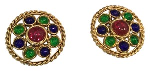 Chanel Vintage stones & gold clip on earrings, Chanel