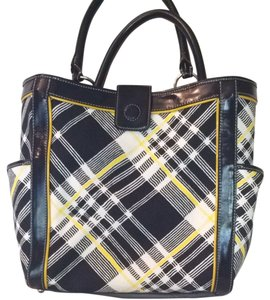 Talbots Tote in Navy And Yellow Plaid