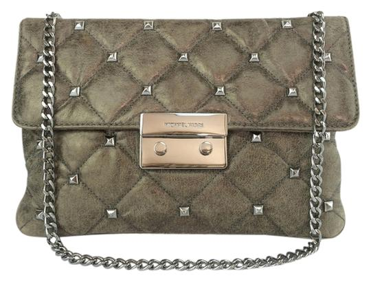 MICHAEL Michael Kors Sloan Studded Quilted Gray Nickel/ Gray Clutch