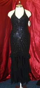 Black Silk Precious Handbeaded #:8 Formal Bridesmaid/Mob Dress Size 14 (L)