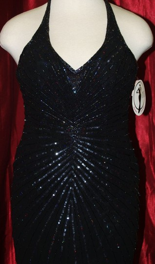 Black Silk Precious Handbeaded #:8 Formal Bridesmaid/Mob Dress Size 14 (L) Image 1