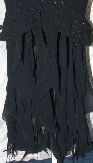Black Silk Precious Handbeaded #:8 Formal Bridesmaid/Mob Dress Size 14 (L) Image 2
