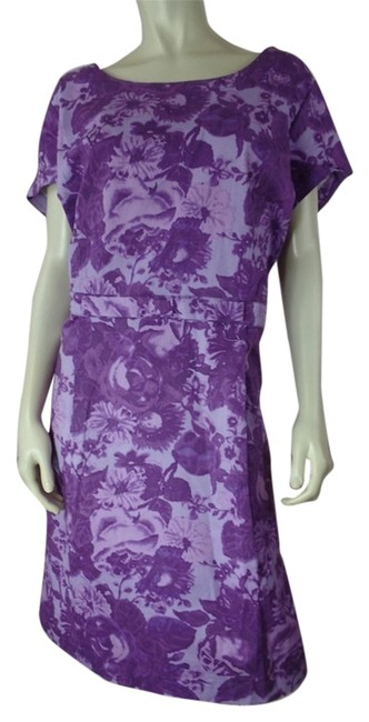 Item - Purple 22w New Pullover Cotton Spandex Floral Knee Length Work/Office Dress Size 22 (Plus 2x)