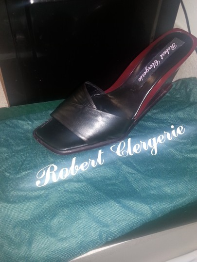 Robert Clergerie Black/ Burgundy Mules