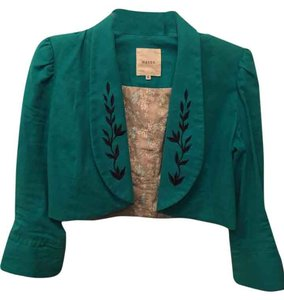 Mason Turquoise Jacket/Bolero with embroidered vine detail on collar and cuffs