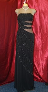 Black Other Precious Formals: Sexy Cut Out Stretch Gown Modern Bridesmaid/Mob Dress Size 12 (L)