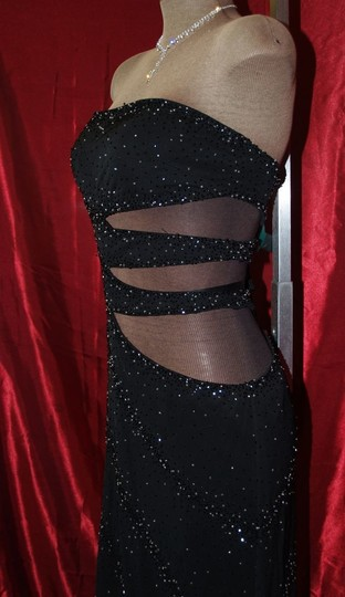 Black Other Precious Formals: Sexy Cut Out Stretch Gown Modern Bridesmaid/Mob Dress Size 12 (L) Image 2