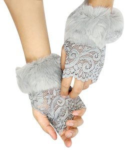 Gray Lace Fur Accent Fingerless Gloves