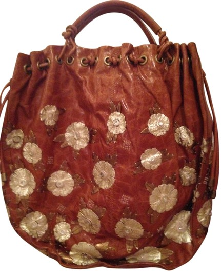 Cole Haan Leather Rhinestones Tote in Cognac