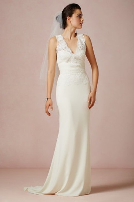 Item - Ivory/Cream Crepe Silk and Lace Bhldn Odessa Vintage Wedding Dress Size 0 (XS)