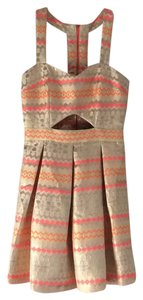 Bank Fashion short dress Gold, yellow, cream, neon orange on Tradesy