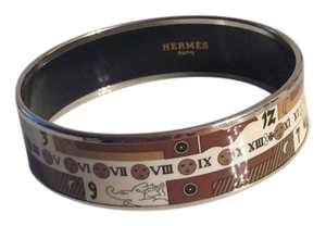 Hermès Hermes Roman Numeral White Gold Bangle Bracelet LAST DAY SALE