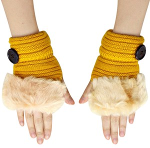 Yellow Mustardy Gold Fur Trim Fingerless Gloves