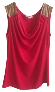 Calvin Klein Studded Gold Cowl Neck Ck Embellished Top Red