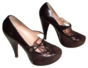 Alberta Ferretti Leather Suede Patent Leather Hidden Brown Platforms