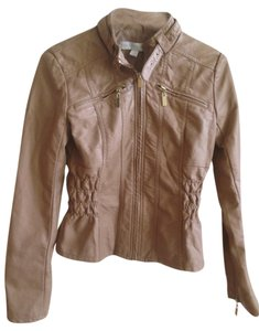 New York & Company Faux Leather Ruching Metallic Hardware Zipper Gold Gold Hardware Motorcycle Jacket