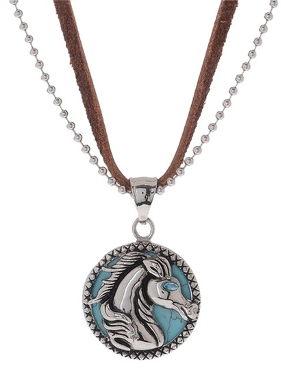 Preload https://item3.tradesy.com/images/turquoise-horse-pendant-on-leather-and-steel-strands-necklace-4728472-0-0.jpg?width=440&height=440