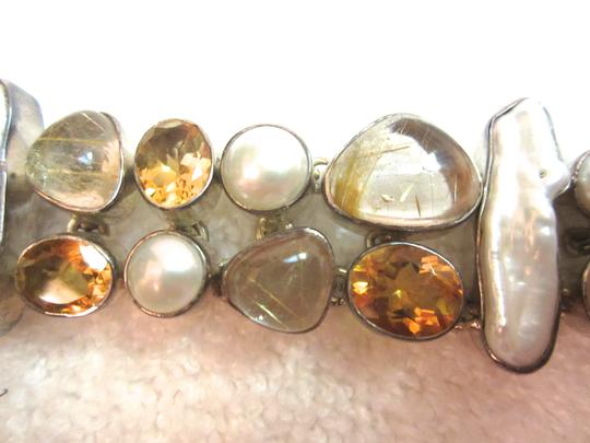 Other Sterling Silver Semi-Precious Gemstones Citrine Pearl MOP Bracelet Signed