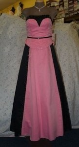 Precious Formals Pink & Black Satin Black/Pink Handbeaded Gown Formal Bridesmaid/Mob Dress Size 8 (M)