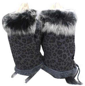 Black Leopard Print Fur Trim Fingerless Winter Gloves