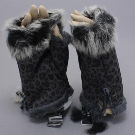 Other Black Leopard Print Fur Trim Fingerless Winter Gloves