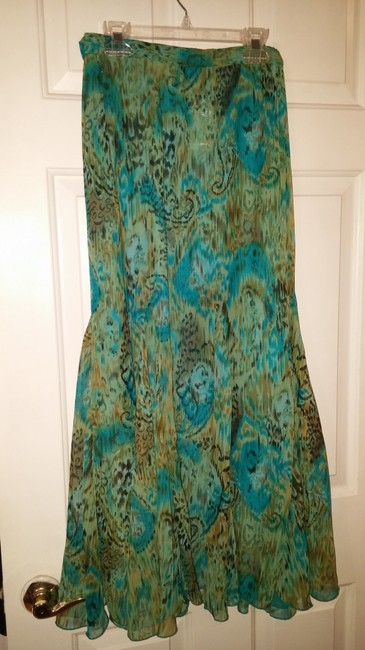 Coldwater Creek Maxi Skirt Turquoise/Green multi