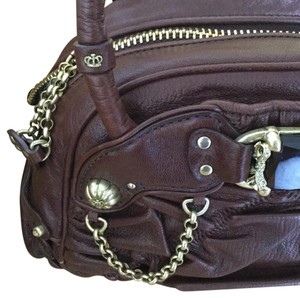 Juicy Couture Goat Satchel in Brown Leather Black Jewel Rhinestones Brass