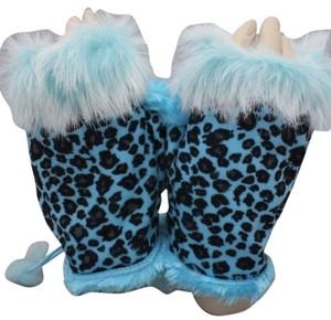 Other Blue Leopard Print Fur Trim Fingerless Thumb Hole Winter Gloves