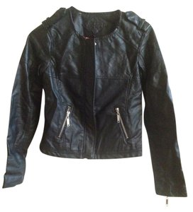 JouJou Faux Leather Zipper Silver Motorcycle Jacket