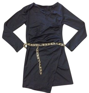 Chanel Chanel Gold Chain Black Leather Adjustable Belt