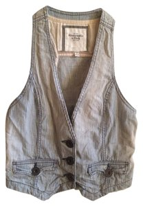 Abercrombie & Fitch Pinstripe Buttons Light Wash Faded Ombre Vest