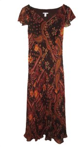Brown, Beige, Orange, Ivory Maxi Dress by Charter Club 100% Silk Flowy Cap Sleeves