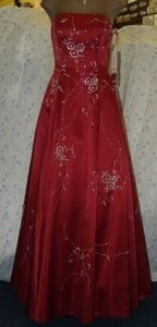 Precious Formals Red Precious Formals: Burned Red Beaded Flower Pattern Dress