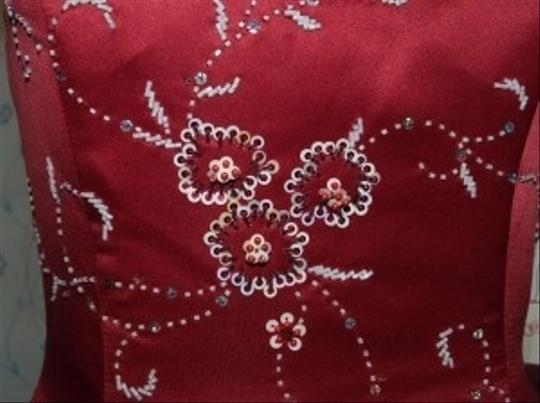 Precious Formals Red Other Burned Beaded Flower Pattern Bridesmaid/Mob Dress Size 10 (M)