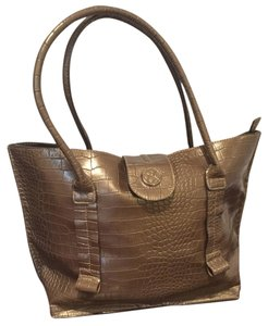 Emilie M Crocodile Tote in Gold