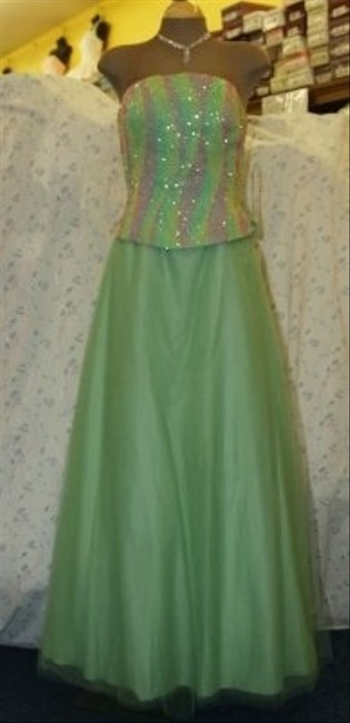 Precious Formals Green Tulle Or Prom Strapless Gown: Green/Maise/Pink Beade Formal Bridesmaid/Mob Dress Size 12 (L) Precious Formals Green Tulle Or Prom Strapless Gown: Green/Maise/Pink Beade Formal Bridesmaid/Mob Dress Size 12 (L) Image 1