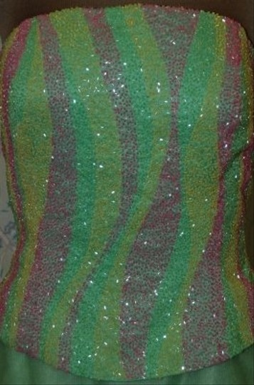 Precious Formals Green Tulle Mob Or Prom Strapless Gown: /Maise/Pink Beade Dress Size 12 (L)