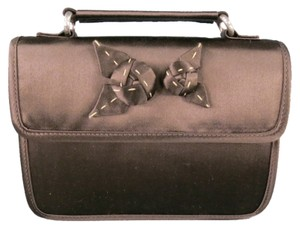 Prada Floral Applique Top Snap Handle Brown Clutch