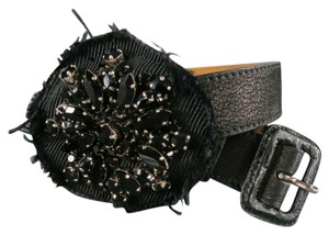 Prada PRADA Black Leather Rhinestone Flower Patch Belt
