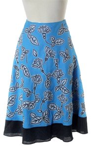 Lafayette 148 New York 100% Linen Embroidered Applique A-line Woven Skirt Blue