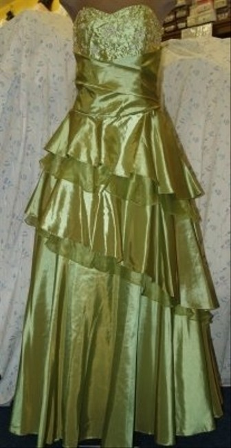 Forever Yours Green Taffeta Sage Gown #: Formal Bridesmaid/Mob Dress Size 12 (L) Forever Yours Green Taffeta Sage Gown #: Formal Bridesmaid/Mob Dress Size 12 (L) Image 1