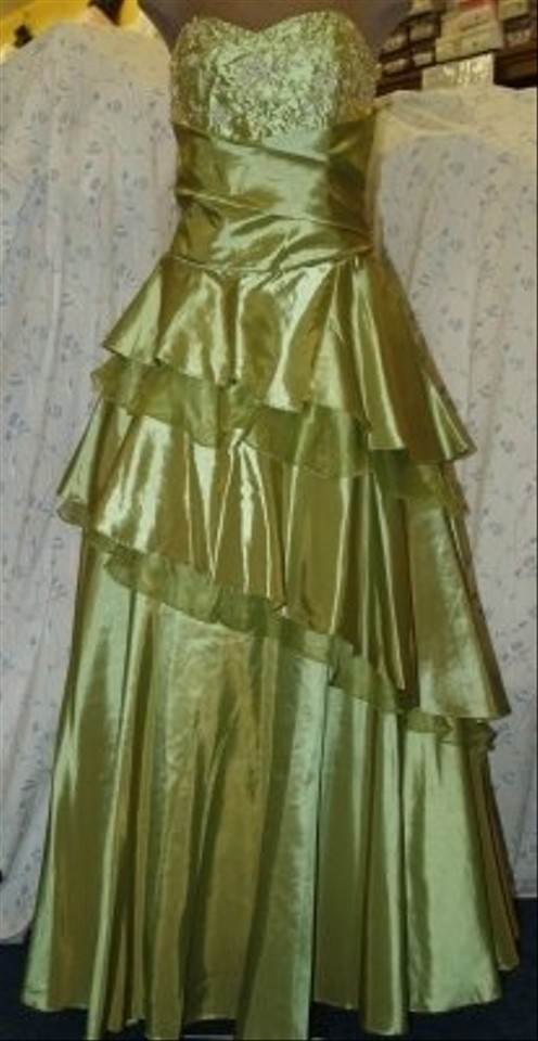 Forever Yours Green Taffeta Sage Gown Formal Bridesmaidmob Dress