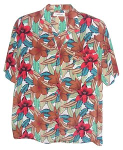Worthington Size 12 Polyester Top TROPICAL PRINT
